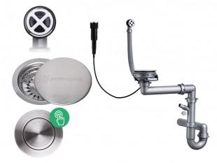 Siphon mural automatique Pop- up pour évier avec un bac + couvercle de vidange