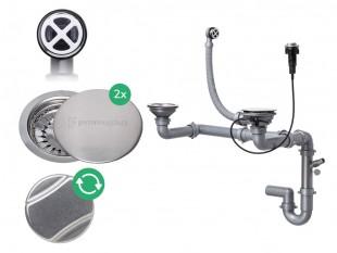 Siphon automatique pour évier avec deux bacs